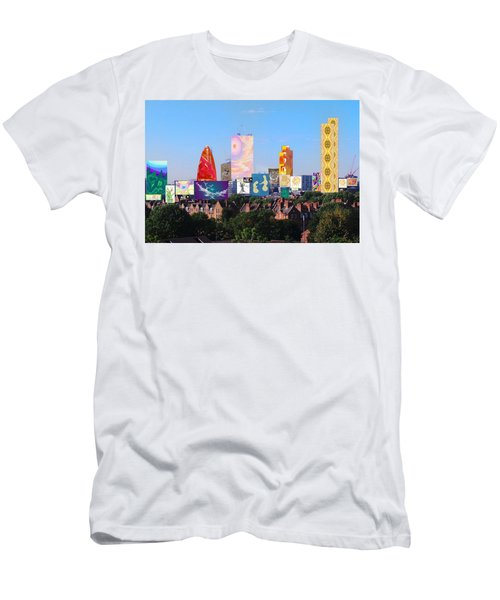 London Skyline Collage 1 Men's T-Shirt (Athletic Fit)