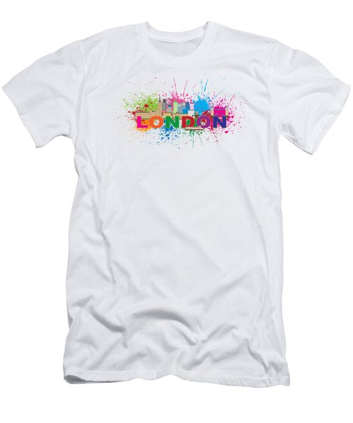 London Skyline Paint Splatter Text Illustration Men's T-Shirt (Slim Fit) by Jit Lim