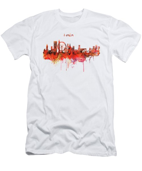London Skyline Watercolor Men's T-Shirt (Slim Fit) by Marian Voicu
