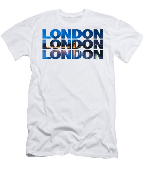 London Text Men's T-Shirt (Slim Fit) by Matt Malloy