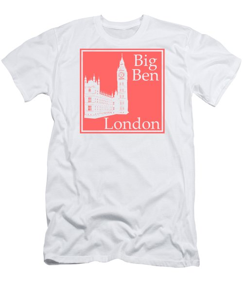 London's Big Ben In Coral Pink Men's T-Shirt (Slim Fit) by Custom Home Fashions