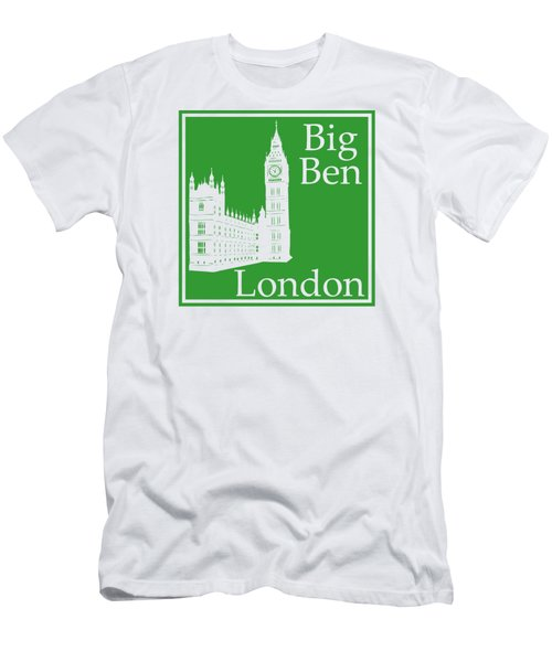 London's Big Ben In Dublin Green Men's T-Shirt (Slim Fit) by Custom Home Fashions