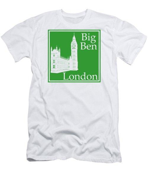 London's Big Ben In Dublin Green Men's T-Shirt (Slim Fit)