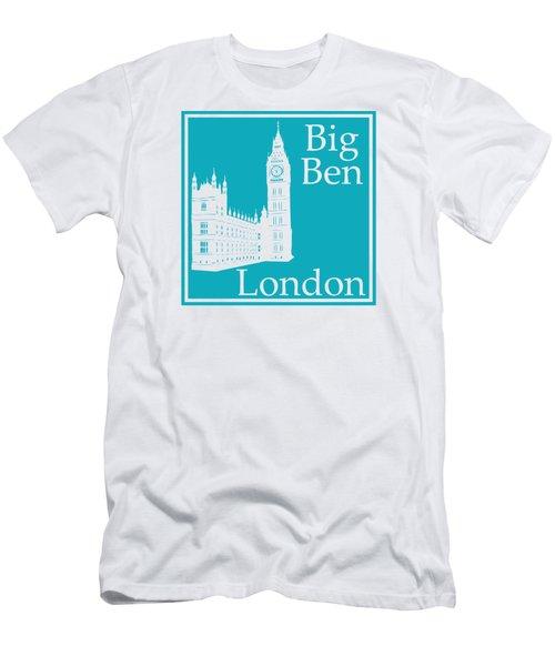 London's Big Ben In Robin's Egg Blue Men's T-Shirt (Slim Fit)