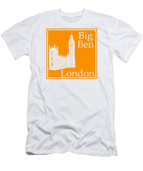 London's Big Ben In Tangerine Men's T-Shirt (Slim Fit) by Custom Home Fashions