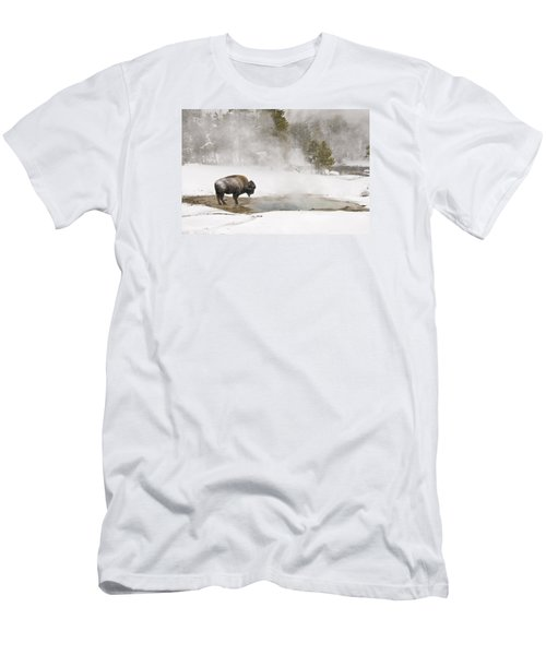 Men's T-Shirt (Slim Fit) featuring the photograph Bison Keeping Warm by Gary Lengyel