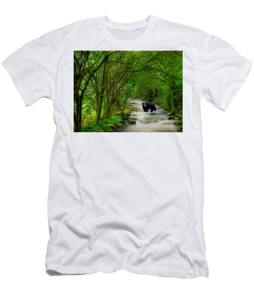Men's T-Shirt (Slim Fit) featuring the painting Lonely Hunter by Steven Richardson