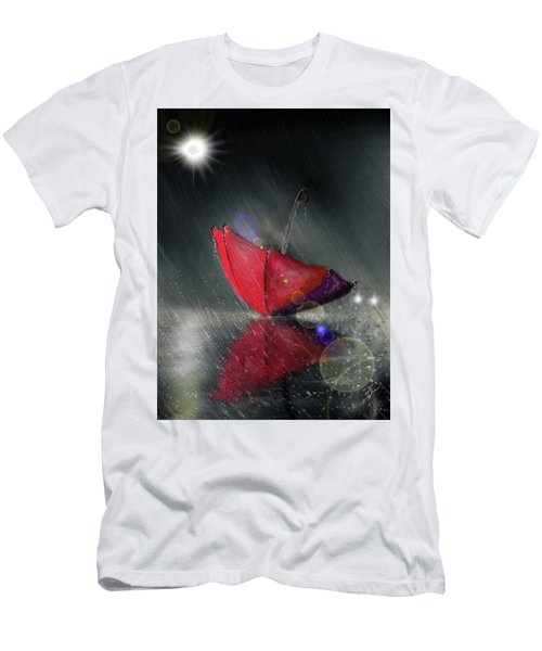 Men's T-Shirt (Athletic Fit) featuring the digital art Lonely Umbrella by Darren Cannell