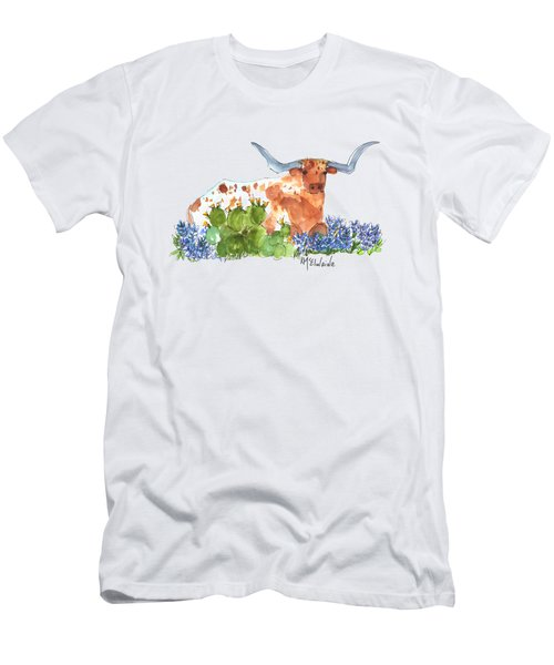 Longhorn In The Cactus And Bluebonnets Lh014 Kathleen Mcelwaine Men's T-Shirt (Slim Fit) by Kathleen McElwaine