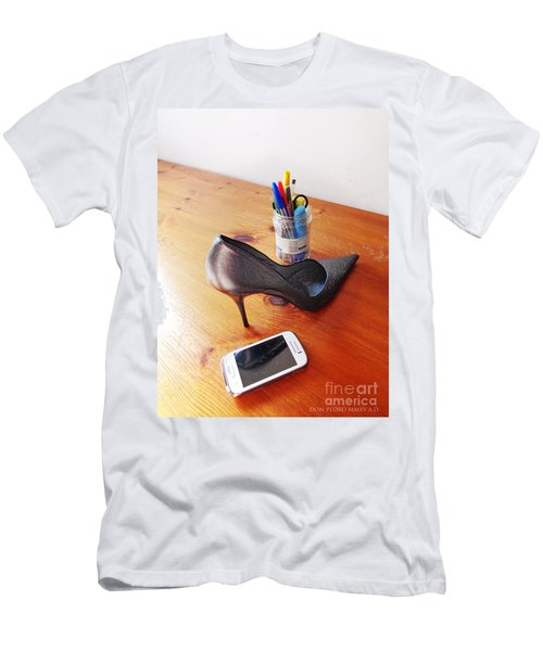 Thinking On Her Men's T-Shirt (Slim Fit) by Don Pedro De Gracia