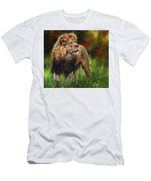 Men's T-Shirt (Slim Fit) featuring the painting Look Of The Lion by David Stribbling