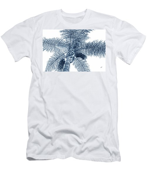Looking Up At Palm Tree Blue Men's T-Shirt (Slim Fit) by Ben and Raisa Gertsberg