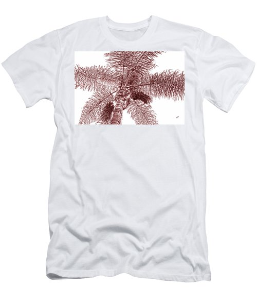 Looking Up At Palm Tree Red Men's T-Shirt (Slim Fit) by Ben and Raisa Gertsberg