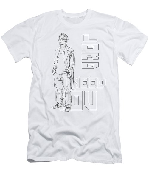 Lord I Need You White Men's T-Shirt (Athletic Fit)