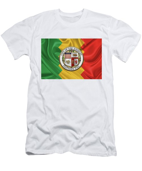 Los Angeles City Seal Over Flag Of L.a. Men's T-Shirt (Slim Fit) by Serge Averbukh