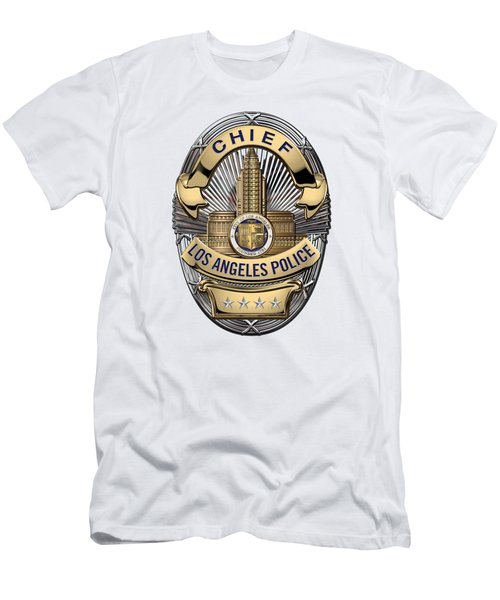 Los Angeles Police Department  -  L A P D  Chief Badge Over White Leather Men's T-Shirt (Slim Fit) by Serge Averbukh