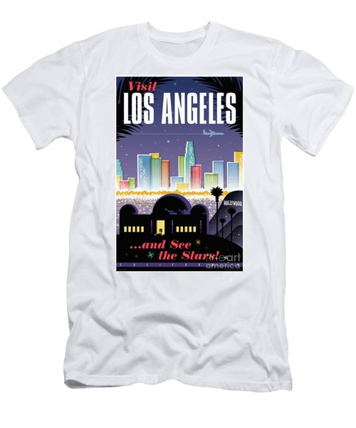 Los Angeles Retro Travel Poster Men's T-Shirt (Slim Fit) by Jim Zahniser