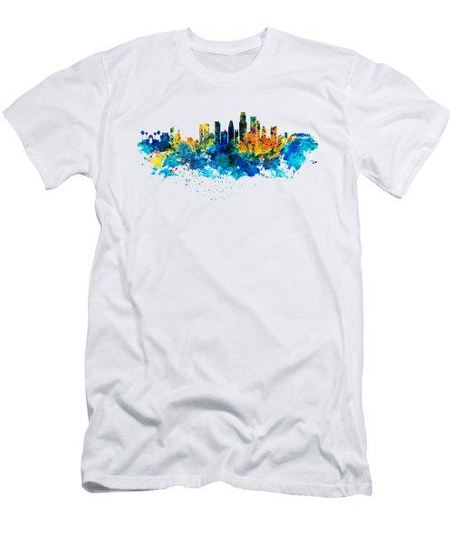 Los Angeles Skyline Men's T-Shirt (Slim Fit) by Marian Voicu