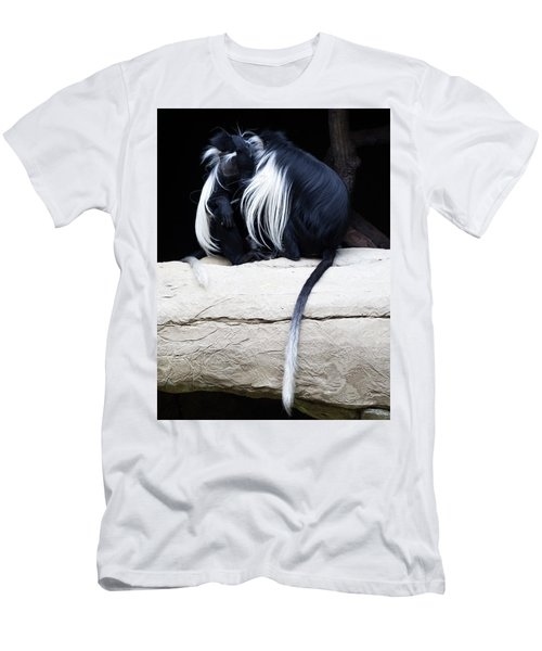 Lost In Cuddling - Black And White Colobus Monkeys  Men's T-Shirt (Athletic Fit)