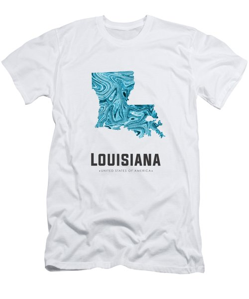 Louisiana Map Art Abstract In Blue Men's T-Shirt (Athletic Fit)