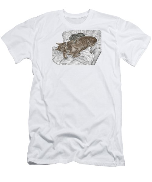 Men's T-Shirt (Slim Fit) featuring the drawing Lounge Lizards - Doberman Pinscher Puppy Print Color Tinted by Kelli Swan