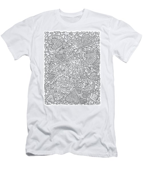 Love And Chrysanthemum Filled Hearts Vertical Men's T-Shirt (Slim Fit) by Tamara Kulish