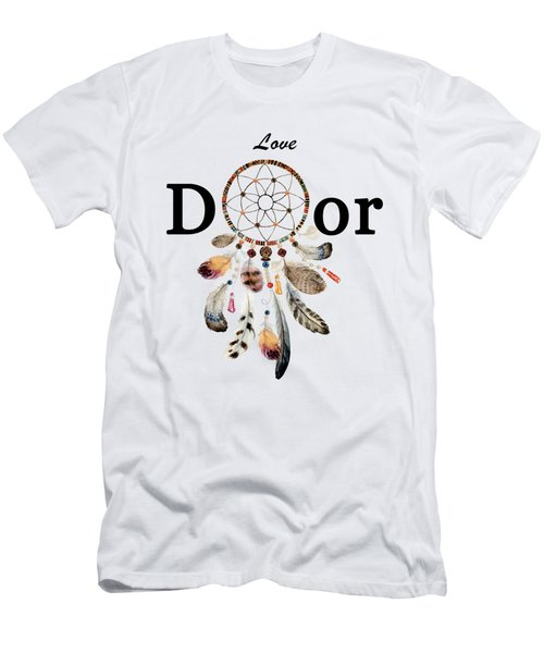 Men's T-Shirt (Athletic Fit) featuring the painting Love Dior Watercolour Dreamcatcher by Georgeta Blanaru