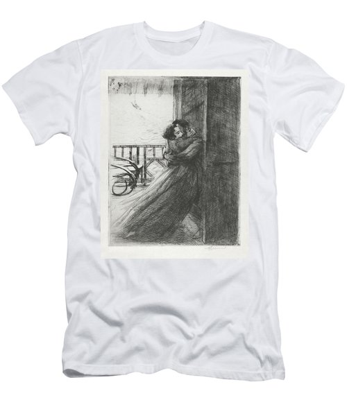 Men's T-Shirt (Slim Fit) featuring the drawing Love - La Femme Series by Paul-Albert Besnard
