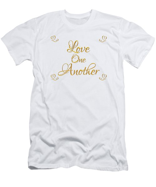 Love One Another Golden 3d Look Script Men's T-Shirt (Athletic Fit)