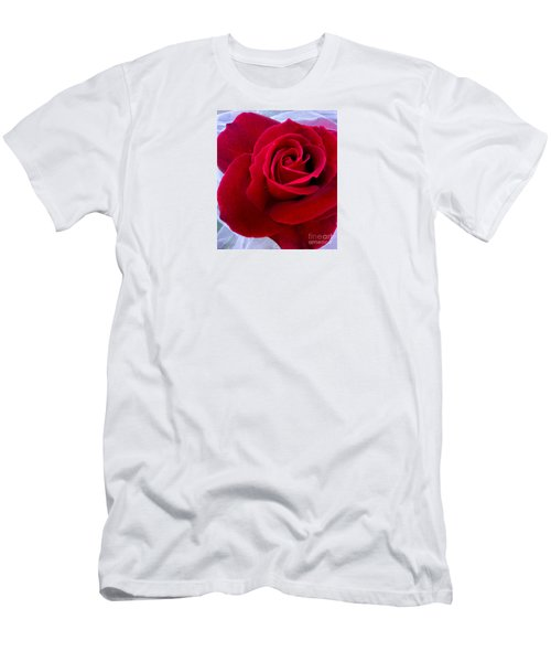 Men's T-Shirt (Slim Fit) featuring the photograph Love Red Rose by Haleh Mahbod