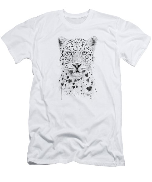 Lovely Leopard Men's T-Shirt (Slim Fit) by Balazs Solti
