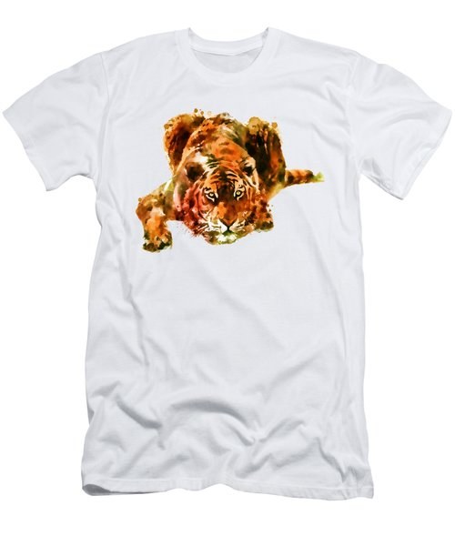 Lurking Tiger Men's T-Shirt (Slim Fit) by Marian Voicu
