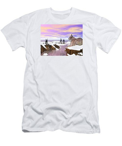Men's T-Shirt (Athletic Fit) featuring the digital art Lynx Watcher Render by Darren Cannell