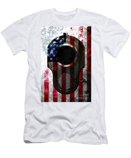 M1911 Colt 45 Muzzle And American Flag On Distressed Metal Sheet Men's T-Shirt (Slim Fit) by M L C