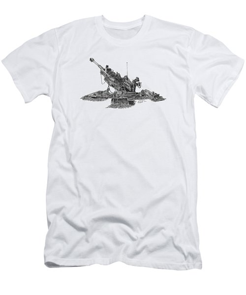 Men's T-Shirt (Athletic Fit) featuring the drawing M777a1 Howitzer by Betsy Hackett