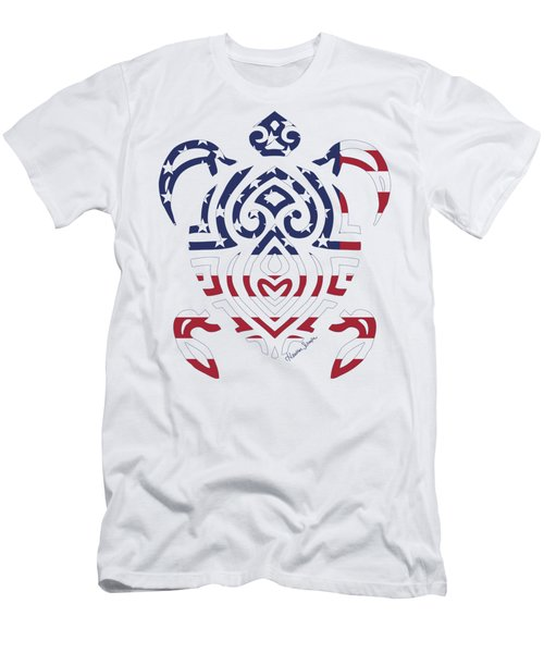 Made In The Usa Tribal Turtle Men's T-Shirt (Athletic Fit)