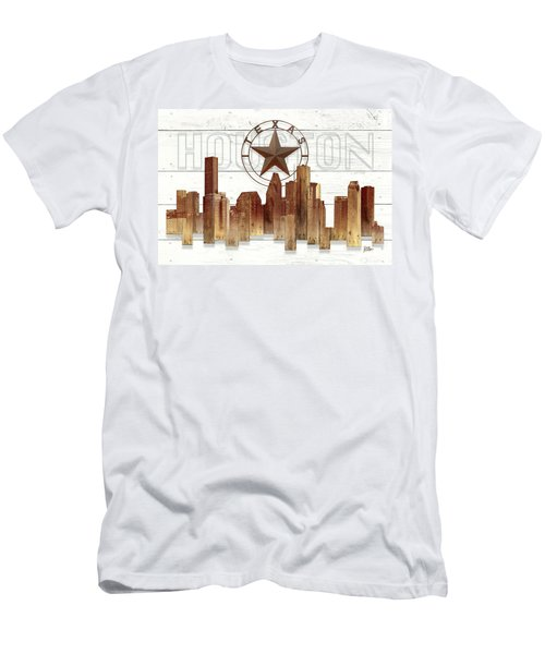 Made-to-order Houston Texas Skyline Wall Art Men's T-Shirt (Athletic Fit)