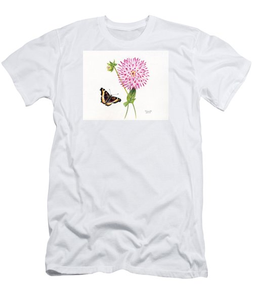 Magenta Dahlia With Butterfly Men's T-Shirt (Athletic Fit)