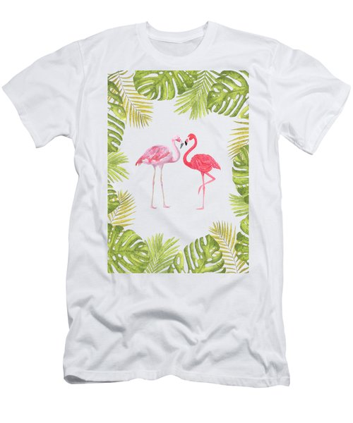 Men's T-Shirt (Athletic Fit) featuring the painting Magical Tropicana Love Flamingos And Leaves by Georgeta Blanaru