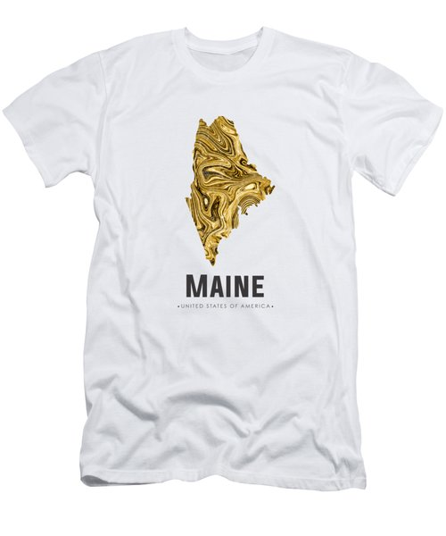 Maine Map Art Abstract In Golden Brown Men's T-Shirt (Athletic Fit)