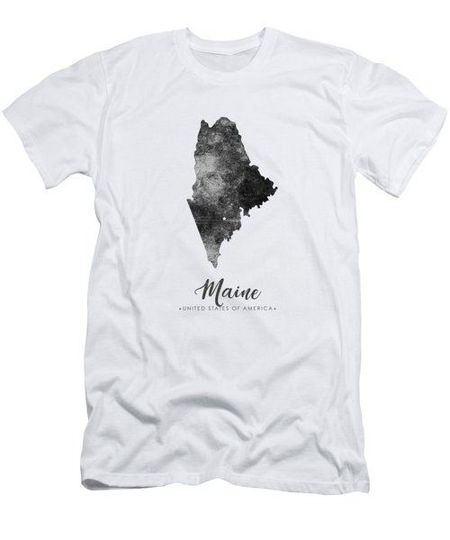 Maine State Map Art - Grunge Silhouette Men's T-Shirt (Athletic Fit)