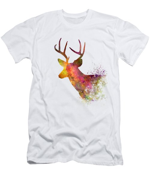 Male Deer 02 In Watercolor Men's T-Shirt (Slim Fit) by Pablo Romero
