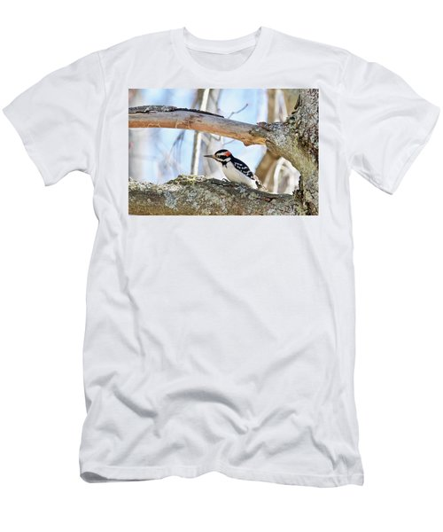 Men's T-Shirt (Slim Fit) featuring the photograph Male Downey Woodpecker 1112 by Michael Peychich