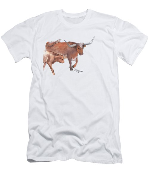 Mama And Baby Longhorn On The Run Men's T-Shirt (Slim Fit) by Kathleen McElwaine