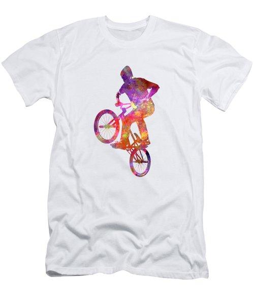 Man Bmx Acrobatic Figure In Watercolor Men's T-Shirt (Athletic Fit)