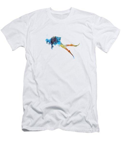Man Scuba Diver 01 In Watercolor Men's T-Shirt (Athletic Fit)