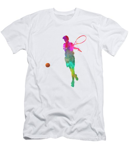 Man Tennis Player 01 In Watercolor Men's T-Shirt (Slim Fit) by Pablo Romero