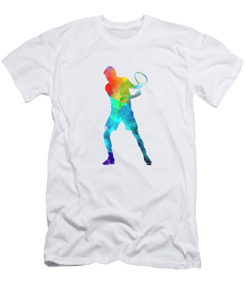 Man Tennis Player 02 In Watercolor Men's T-Shirt (Slim Fit) by Pablo Romero