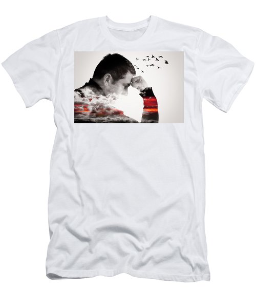Man Thinking Double Exposure With Birds Men's T-Shirt (Athletic Fit)