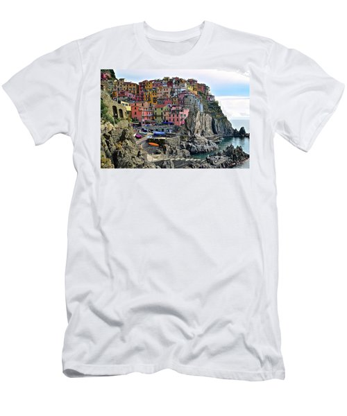 Men's T-Shirt (Slim Fit) featuring the photograph Manarola Version Four by Frozen in Time Fine Art Photography